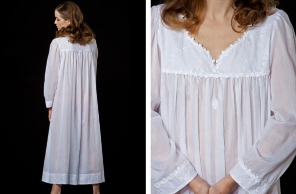 Celestine Dorothea long sleeve nightgown Dorothea-1-NH white back view