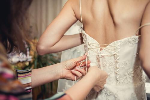 Lacing up wedding dress