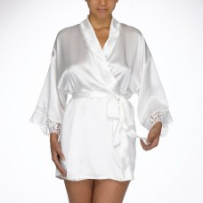 Woman in white silk robe